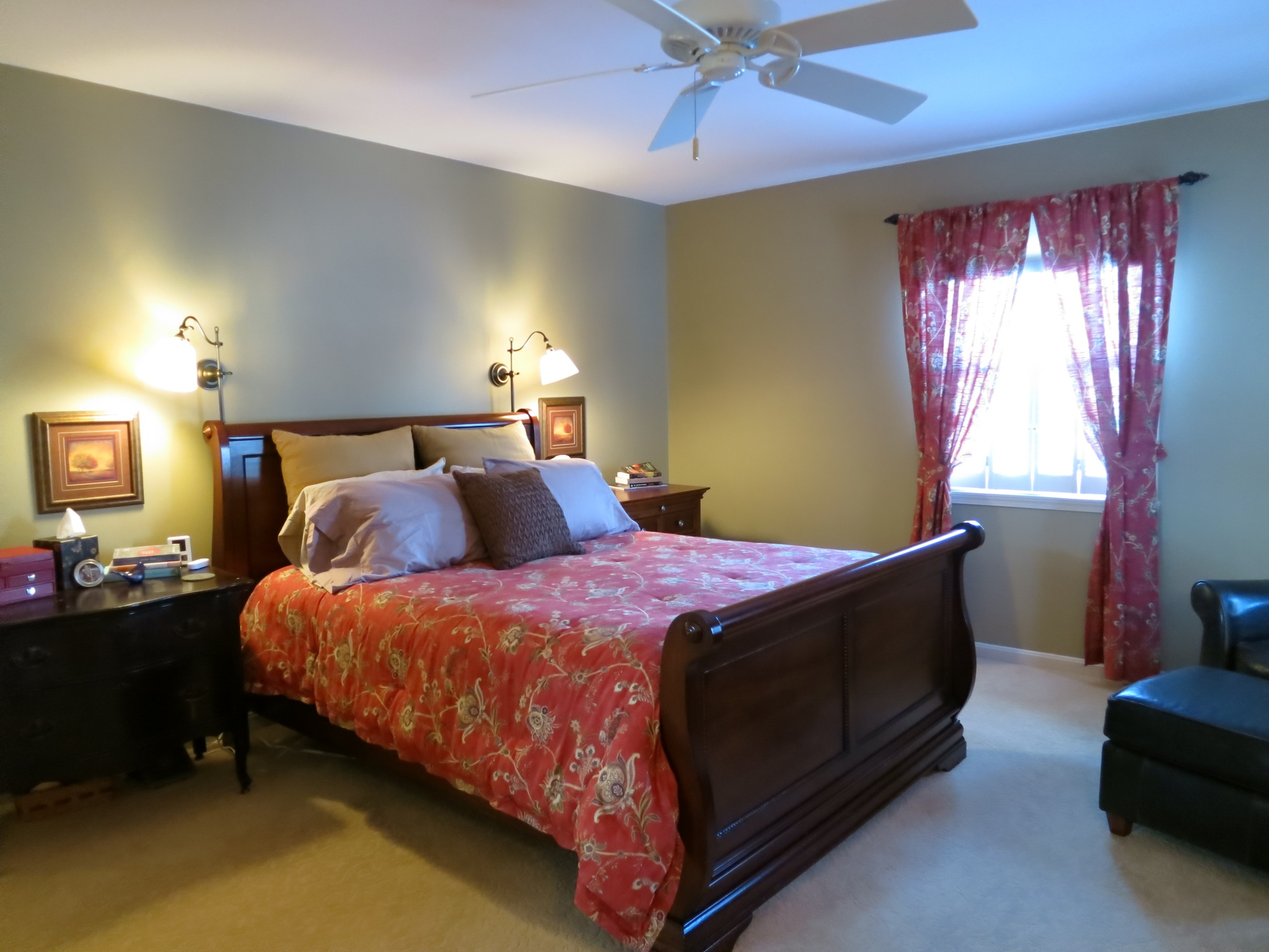 The master bedroom is amply sized (your bed will fit just fine.)