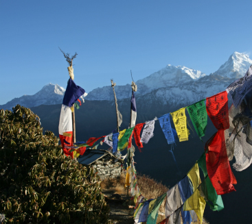 Prayer flags in the wind, Nepal.